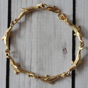 vintage gold tone realistic dolphin link bracelet